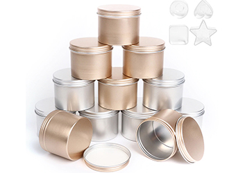 Candle Tins Metal/Glass Empty Candle Jar Containers Slip-On Lids for Candle Making
